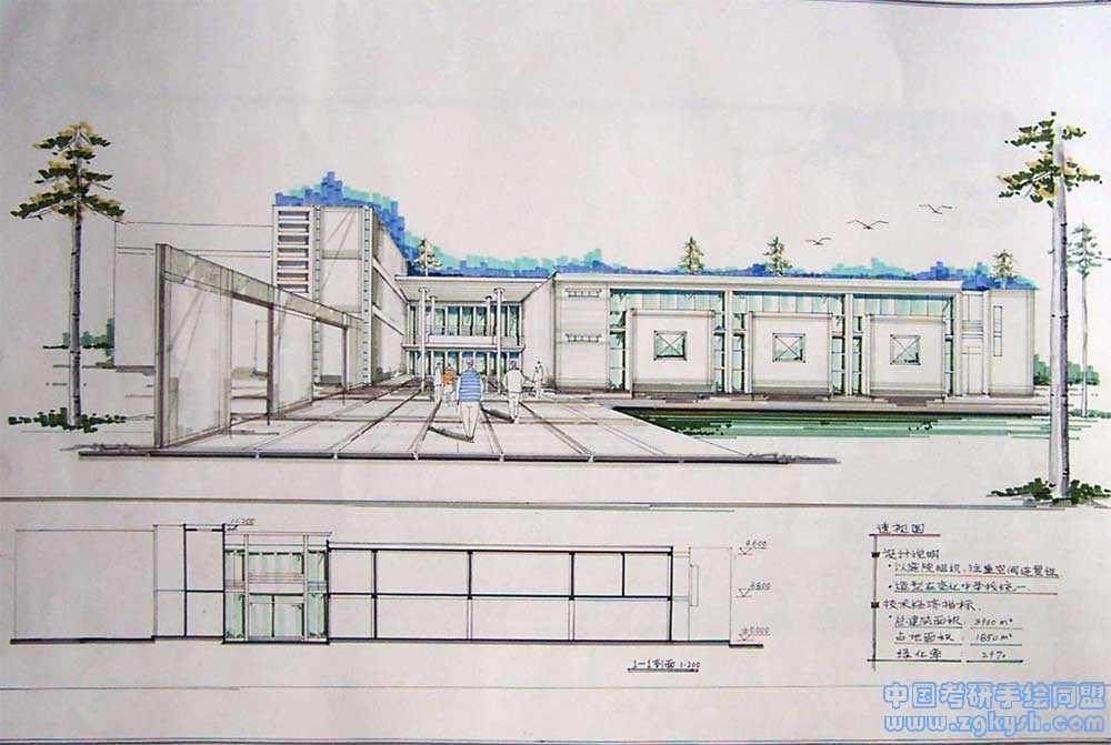 建筑设计手绘效果图,透视图