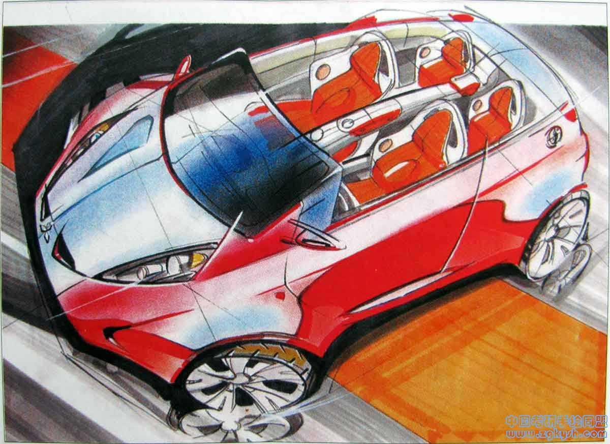 汽车造型设计手绘效果图