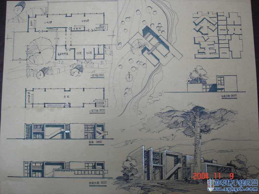 茶室建筑设计考研手绘快题