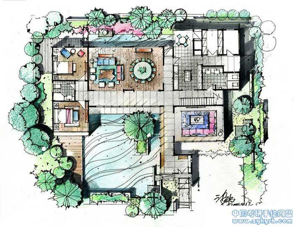 别墅景观手绘快题设计别墅景观,设计考研手绘快题 学习手绘
