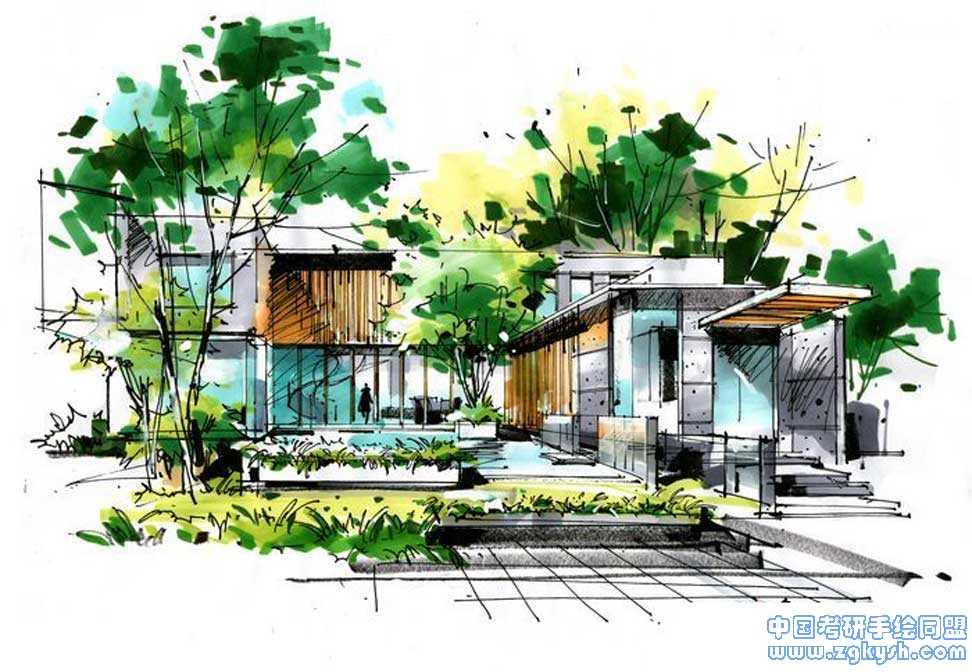 别墅景观手绘快题设计别墅景观