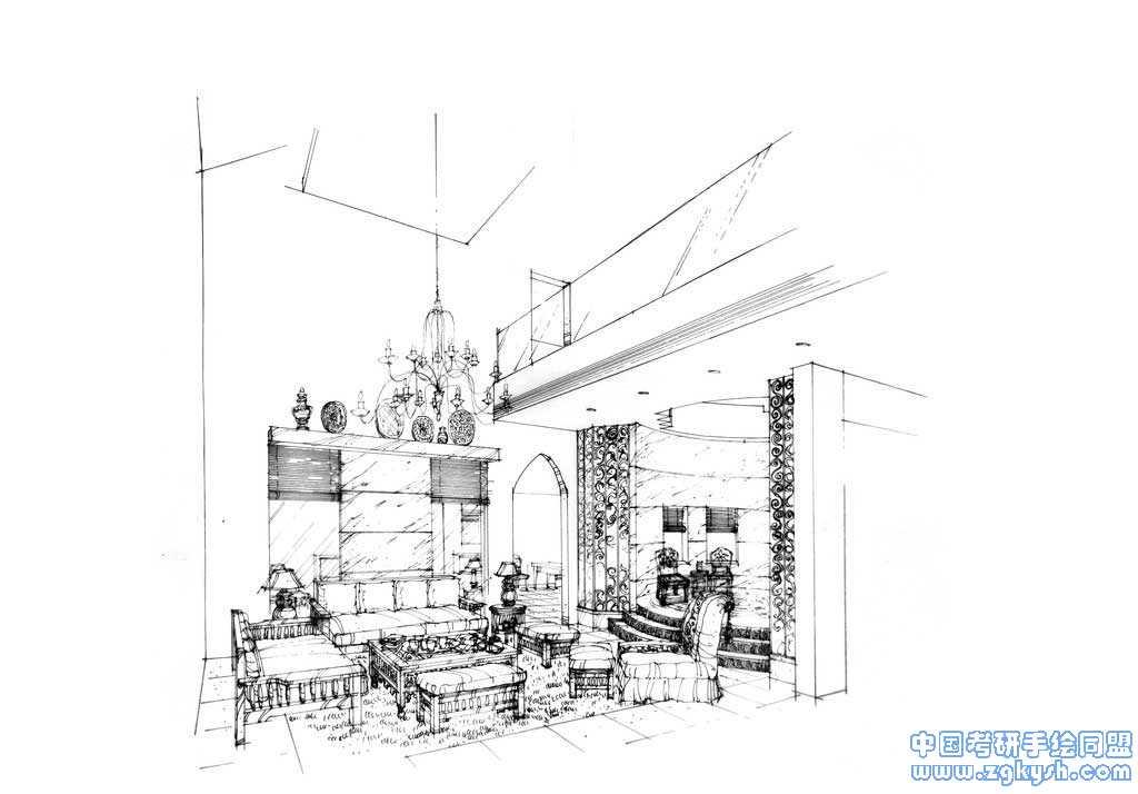收藏的一些室内手绘黑白线稿效果图