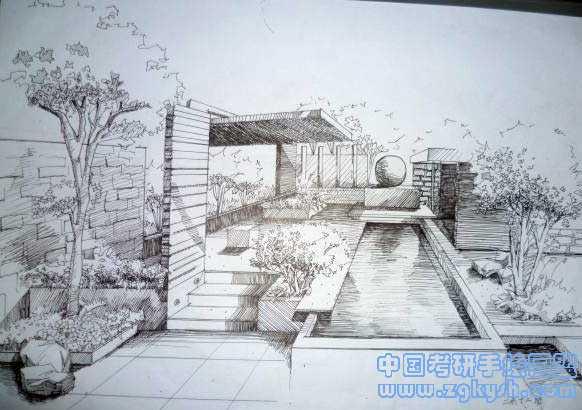 建筑手绘黑白线稿表现效果图