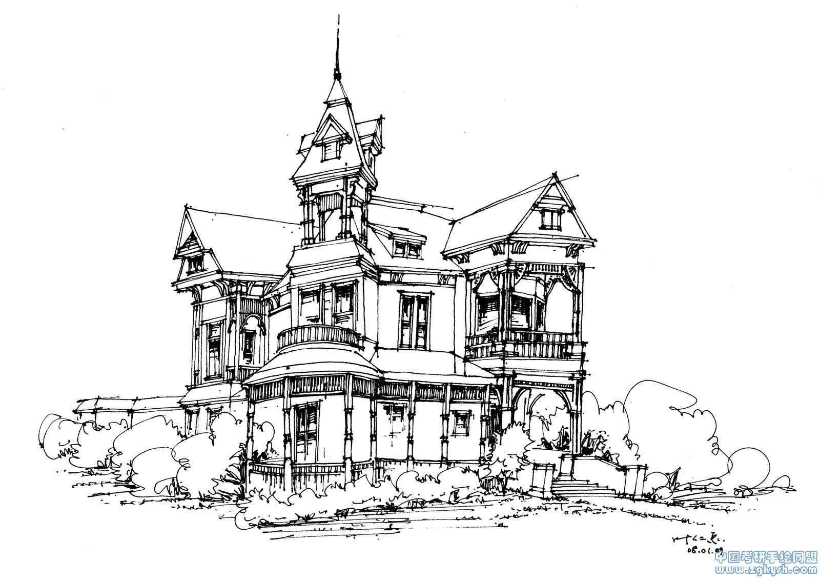 欧式建筑手绘表现手绘线稿,欧式建筑表现手绘效果图