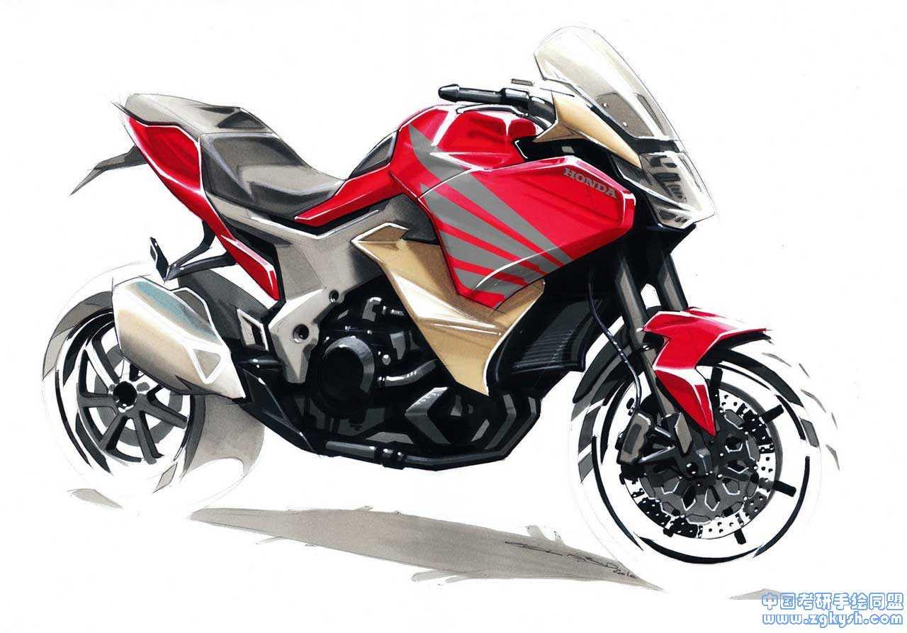 纯马克笔手绘摩托车效果图马克笔
