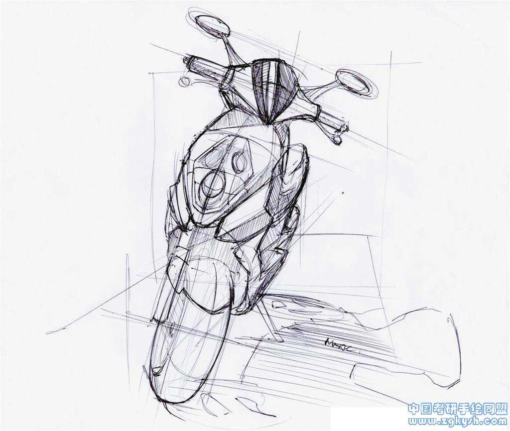 考研手绘网 69 手绘效果图 69 工业设计手绘 69 yahaha踏板摩托