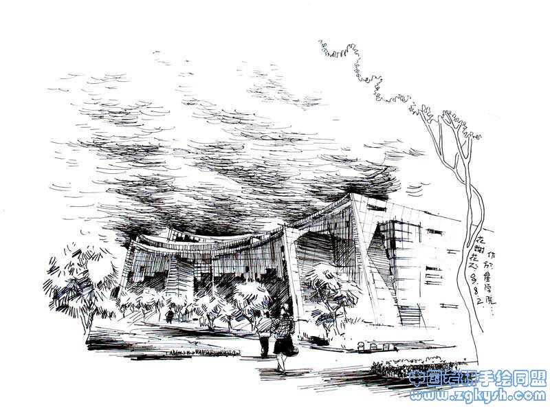现代建筑手绘线稿建筑手绘