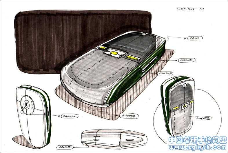 马克笔快速表现手机方案手绘效果图
