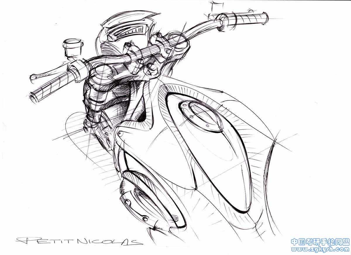 概念摩托车设计方案手绘效果图概念摩托车设计
