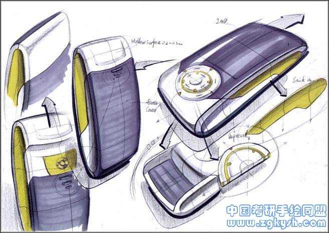 马克笔手绘手机设计方案效果图