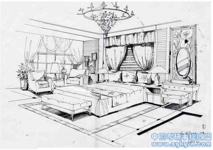 室内设计手绘线稿效果图室内手绘,黑白线稿,室内手绘