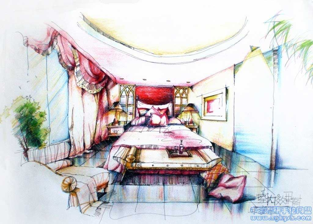 用彩铅手绘的室内设计方案