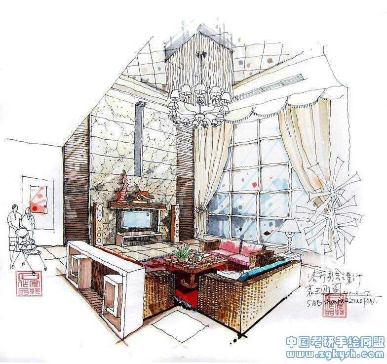 室内客厅设计手绘效果图室内手绘