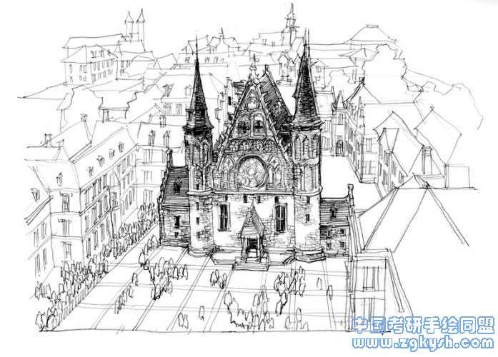 建筑钢笔画手绘黑白线稿效果图