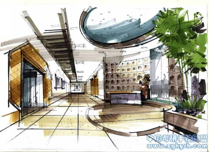 酒店大堂设计手绘效果图