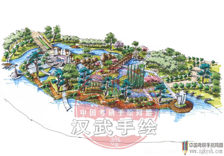 汉武手绘园林景观作品——沿江公园