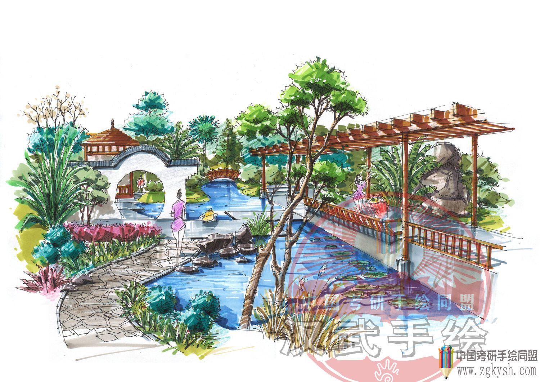 景观廊架柱手绘效果图