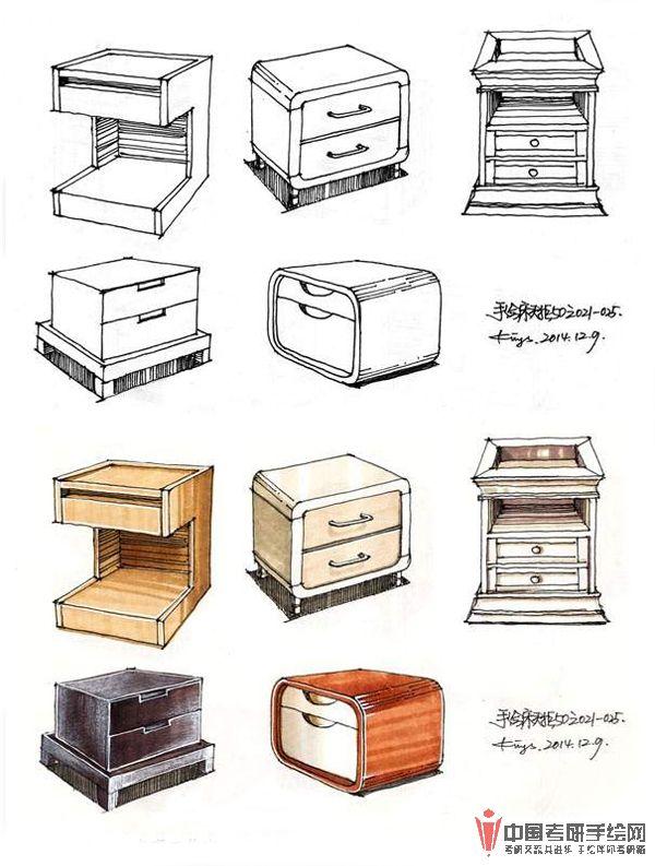 手绘床头柜50例手绘效果图