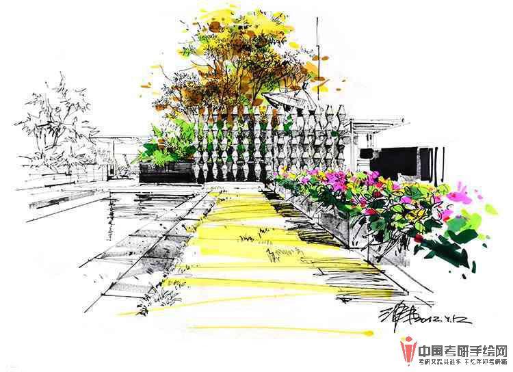 沙沛手绘景观设计马克笔表现步骤图手绘效果图