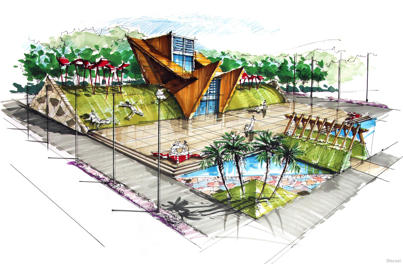 园林建筑景观广场手绘