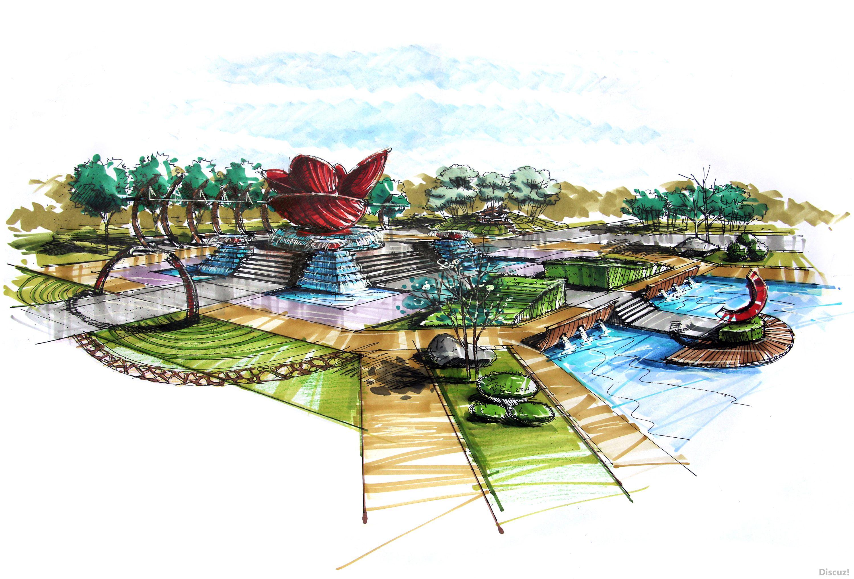 园林建筑景观广场手绘手绘效果图