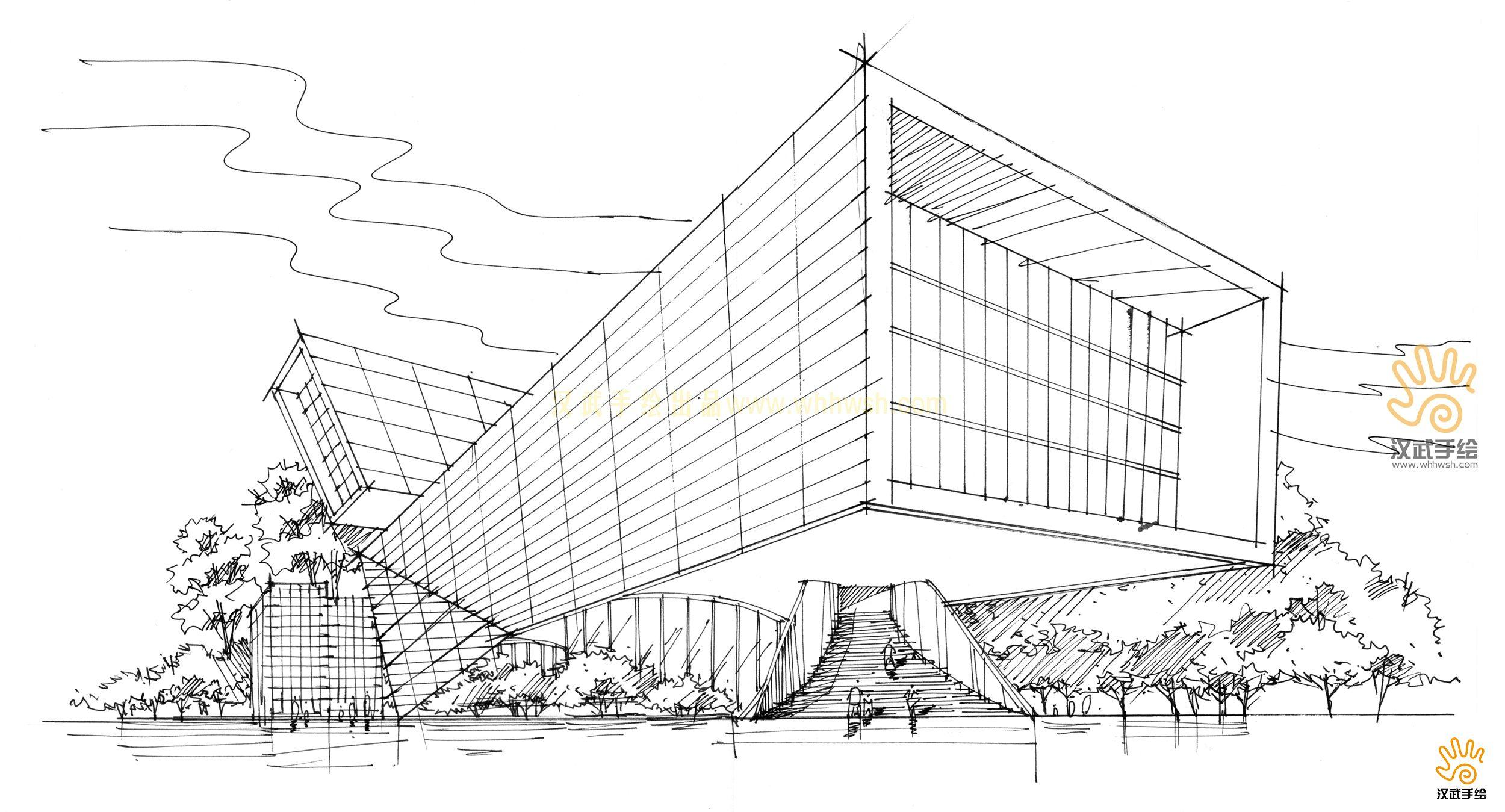 建筑手绘线稿加上色稿(展馆,博物馆,医院,会所等建筑)