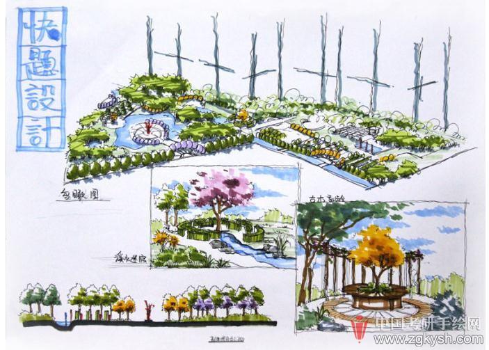江南大学设计考研环快题 艺设计手绘之景观园林