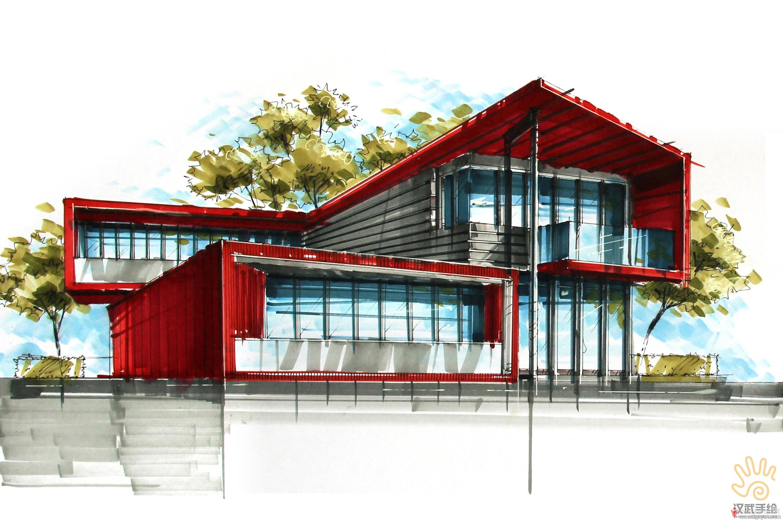 国际会展中心鸟瞰手绘效果图2