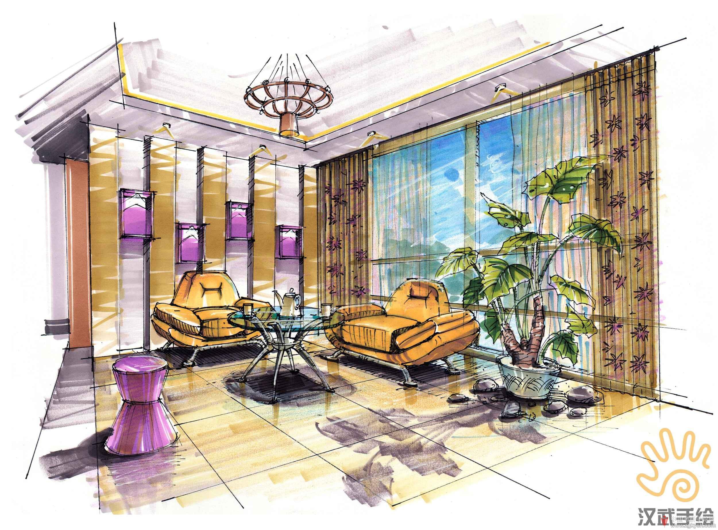 黄皮沙发手绘上色效果图.jpg