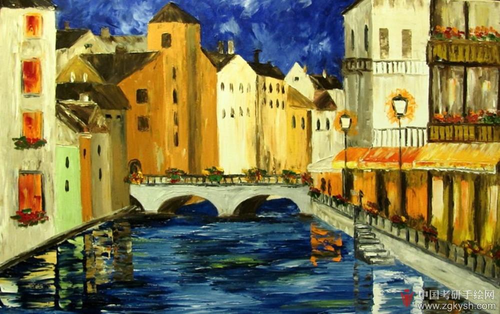 欧洲小镇风景油画图片手绘效果图 - 学习手绘zgkysh.
