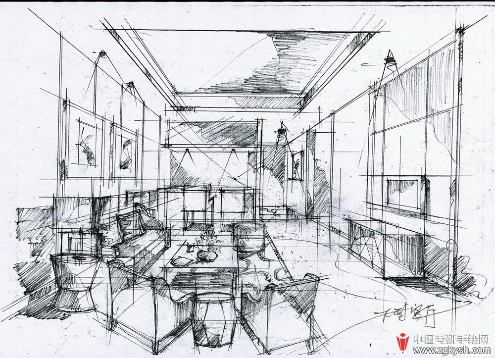 别墅设计图-王建国手绘图片展示考研手绘